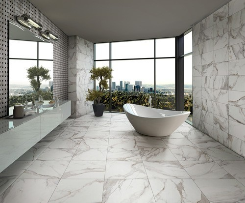 marble, white, clean, contemporary, transitional, subway