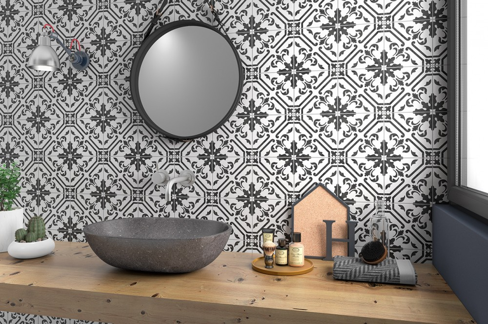 porcelain, white, pattern, modern, traditional, black