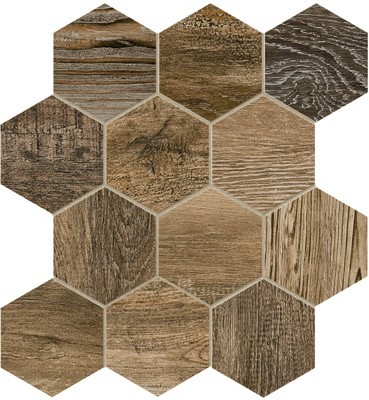 Bar Harbor 4 inch Hexagon mosaic tile in color Brown