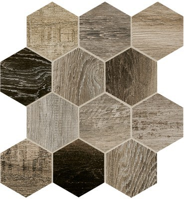 Bar Harbor 4 inch Hexagon mosaic tile in color Grey