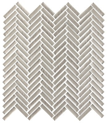 Shimmer glass collection greige herringbone
