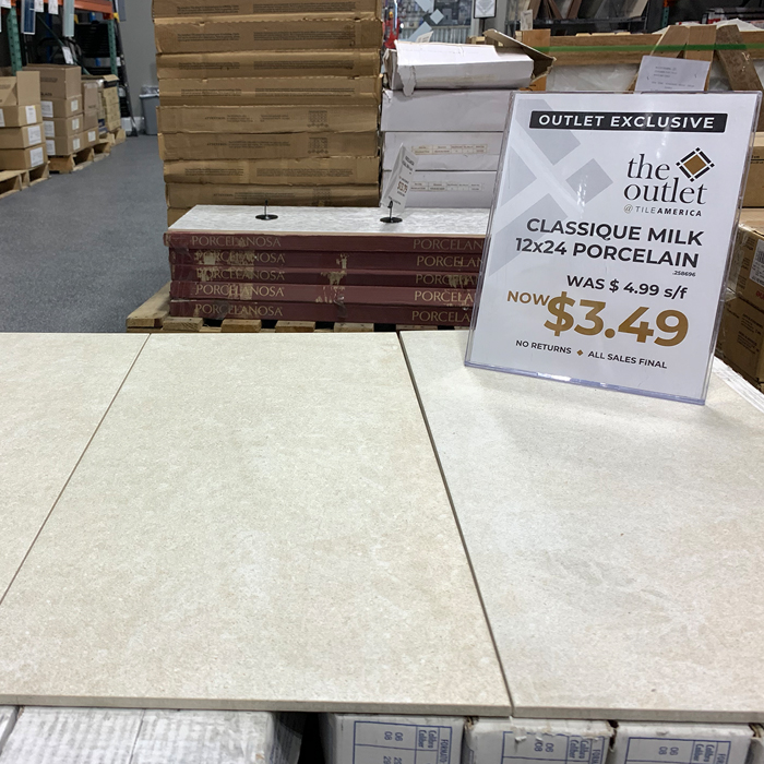 Classique Milk 12x24 Porcelain in the Outlet at Tile America