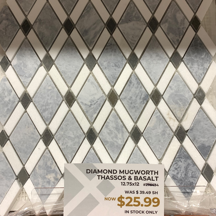 Mugworth Thassos Diamond Mosaic from the Outlet at Tile America